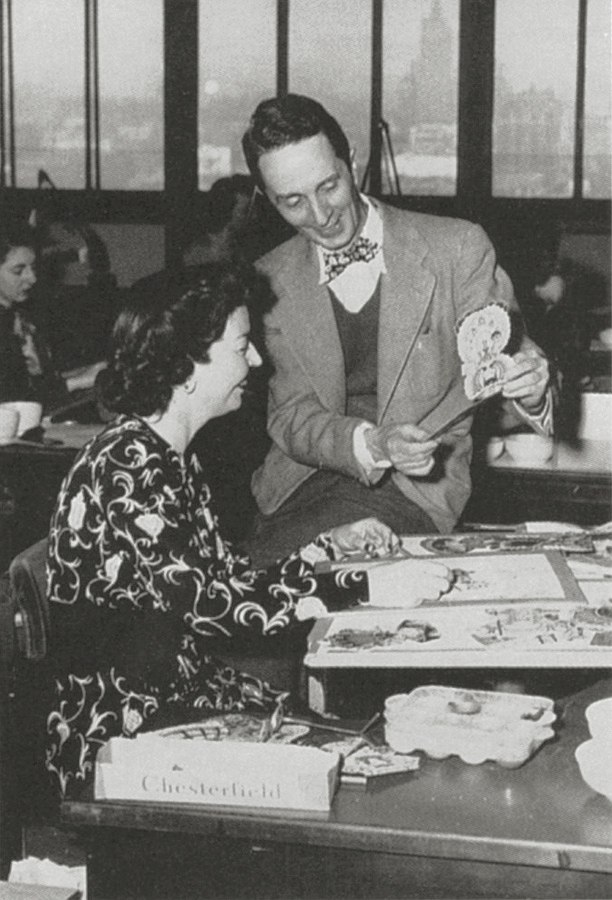 Norman Rockwell visits with Hallmark illustrators, c. 1949.